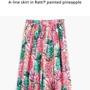 J. Crew a line skirt in ratti printed pineapple